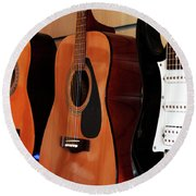Round Beach Towel featuring the photograph Let The Music Play by Baggieoldboy