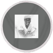 Ernie Banks Round Beach Towel