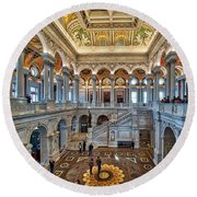Library Of Congress Round Beach Towel