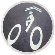 Life In The Bike Lane Round Beach Towel