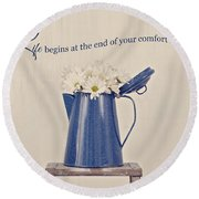 Comfort Zone Round Beach Towel by Kim Hojnacki
