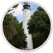 Round Beach Towel featuring the photograph Lighthouse - Key West by Christiane Schulze Art And Photography