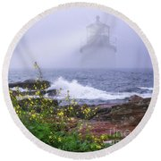 Round Beach Towel featuring the photograph Lighthouse Overlay by Sharon Seaward