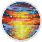 Round Beach Towel featuring the painting  Lighthouse Sunset Ocean View Palette Knife Original Painting by Georgeta Blanaru