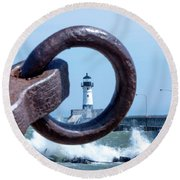 Lighthouse Thru The Hole Round Beach Towel