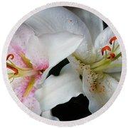 Lilies Round Beach Towel