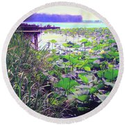 Lily Pads Round Beach Towel by Bonnie Willis