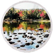 Round Beach Towel featuring the photograph Lily Pond, Kancamagus Highway - New Hampshire  by Joseph Hendrix