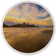 Lines In The Sand 2 Round Beach Towel