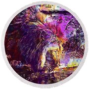 Round Beach Towel featuring the digital art Lion Cat Zoo Male Big Cat Africa  by PixBreak Art