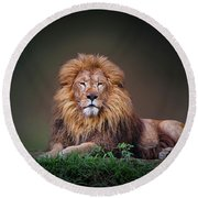 Lion King Round Beach Towel by Charuhas Images