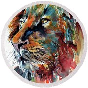 Round Beach Towel featuring the painting Lion by Kovacs Anna Brigitta