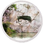 Round Beach Towel featuring the photograph Lion Of Lucerne by Joseph Hendrix