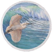Little Egret Round Beach Towel
