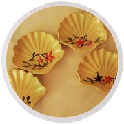 Little Shell Plate Round Beach Towel by Itzhak Richter