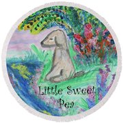 Round Beach Towel featuring the painting Little Sweet Pea With Title by Diane Pape