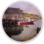 On The Waterfront Round Beach Towel