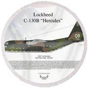 Lockheed C-130b Hercules Round Beach Towel by Arthur Eggers