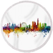 London England Skyline Panoramic Round Beach Towel