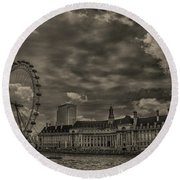 London Eye Round Beach Towel by Martin Newman
