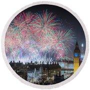 London New Year Fireworks Display Round Beach Towel
