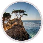 Lone Cypress Tree Round Beach Towel by James Hammond