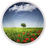 Lone Tree A Poppies Field Round Beach Towel by Bess Hamiti