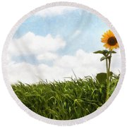 Lonely Flower Round Beach Towel