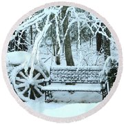 Lonely In Winter Round Beach Towel