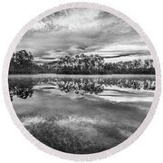 Long Pine Bw Round Beach Towel