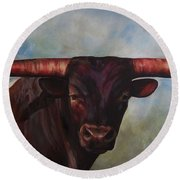 Round Beach Towel featuring the painting Longhorned Texan by Karen Kennedy Chatham