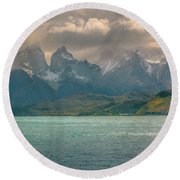 Round Beach Towel featuring the photograph Los Cuernos  by Andrew Matwijec