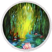 Lotus And Lily Pads Round Beach Towel