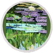 Lotus Reflections Round Beach Towel