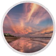 Round Beach Towel featuring the photograph Low Tide Mirror by Debra and Dave Vanderlaan