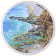 Low Tide Sunset Cliffs Round Beach Towel
