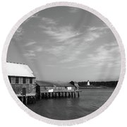 Round Beach Towel featuring the photograph Lubec, Maine by Trace Kittrell