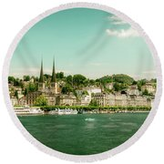 Round Beach Towel featuring the photograph Lucerne Panorama by Wolfgang Vogt