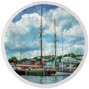 Round Beach Towel featuring the photograph Lunenburg Harbor by Rodney Campbell