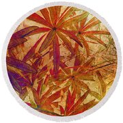 Lupin Leaves Round Beach Towel