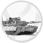Round Beach Towel featuring the drawing M1a1 Tank by Betsy Hackett