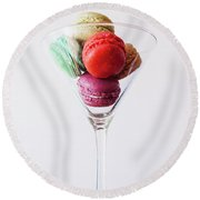 Macarons Round Beach Towel by Happy Home Artistry