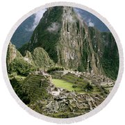 Machu Picchu At Sunrise Round Beach Towel
