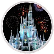 Magic Kingdom Castle In Frosty Light Blue With Fireworks 06 Mp Round Beach Towel