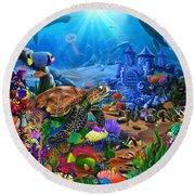 Magical Undersea Turtle Round Beach Towel
