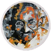 Round Beach Towel featuring the painting Mahatma Gandhi by Richard Day