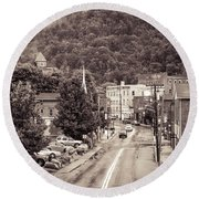 Round Beach Towel featuring the photograph Main Street Webster Springs by Thomas R Fletcher