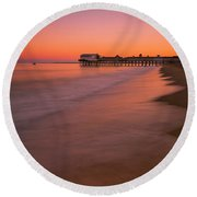 Round Beach Towel featuring the photograph Maine Old Orchard Beach Pier Sunset by Ranjay Mitra