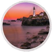Round Beach Towel featuring the photograph Maine Portland Headlight Lighthouse At Sunset by Ranjay Mitra