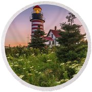 Maine West Quoddy Head Light At Sunset Round Beach Towel